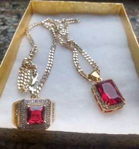 18k Gold Filled 3mm Cuban Link Chain Ring and Pendant  Set