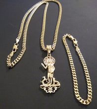 14k Gold Filled 3mm Cuban Link Chain Bracelet and Pendant  Set