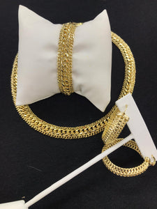 8mm 18k GOLD PLATED duo Cuban link LINK SET CHAIN AND BRACELET