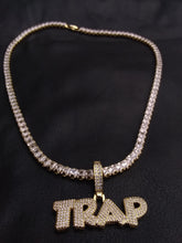 Gold or White Gold filled 3 mm tennis chain and iced out pendant