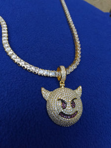 Copy of 14k gold-plated Iced Out emoji 4mm Tennis Chain and Pendant set