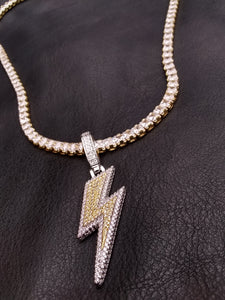 14k gold-plated Iced Out Lightning Bolt emoji 4mm Tennis Chain and Pendant set