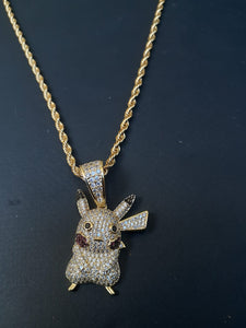 14k gold-plated Iced Out Pikachu emoji 3mm Chain and Pendant set