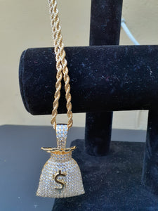 14k gold-plated Iced Out Money Bag emoji 3mm Chain and Pendant set