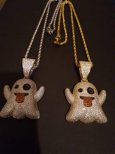 14k gold-plated Iced Out Ghost 👻 emoji 3mm Chain and Pendant set