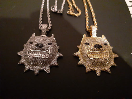 14k gold-plated Iced Out Pitbull emoji 3mm Chain and Pendant set