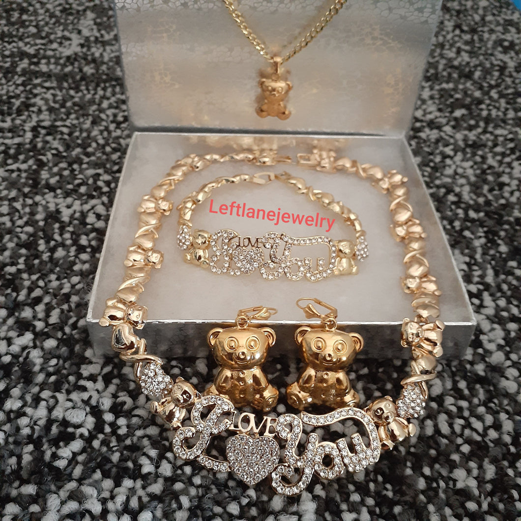14k Gold Filled Womens Bundle HUGS & KISSES 6 pieces💖 xoxo X&o Hugs and Kisses Full Set Chain earrings And Bracelet