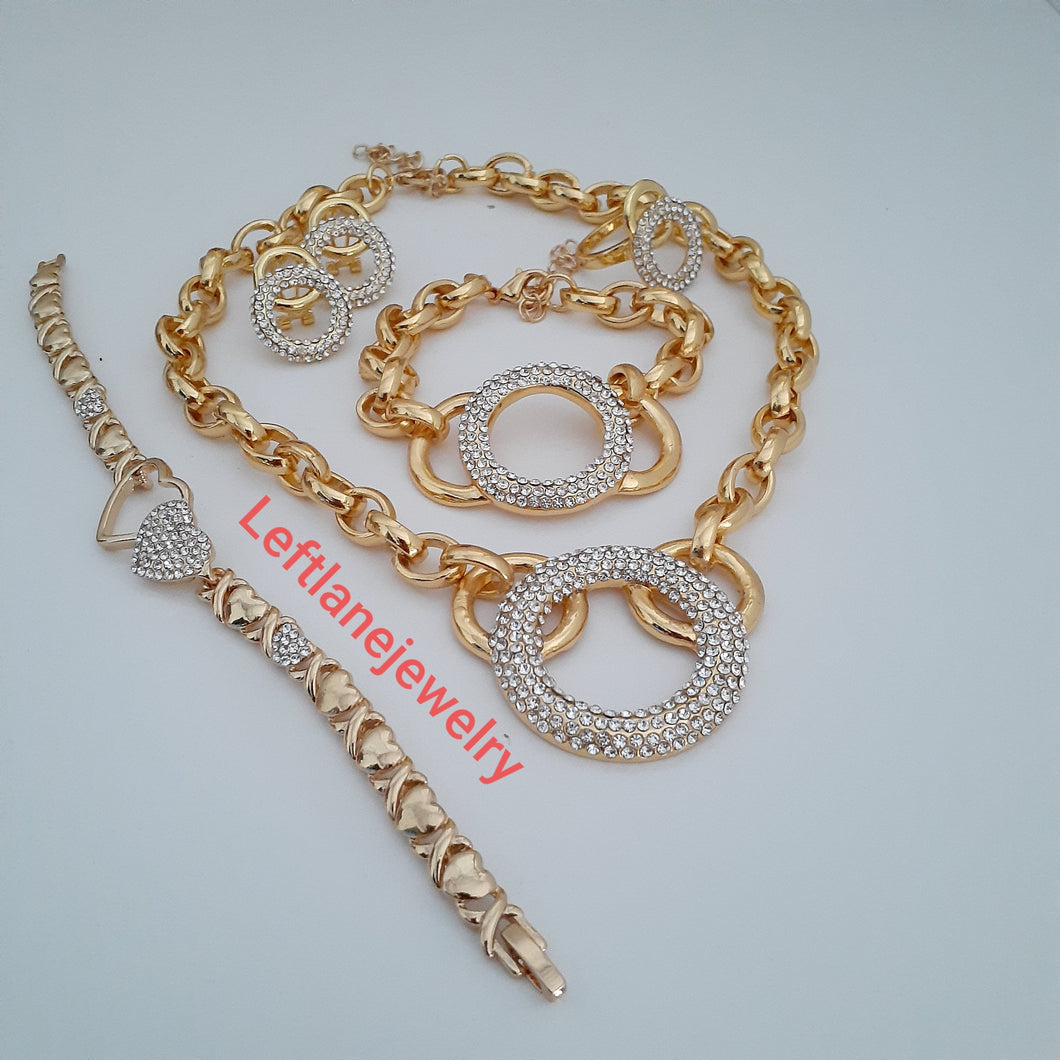 14k Gold Plated Womens Bundle of the day X&o Hugs and Kisses Full xoxo Set Chain earrings ring and 2 Bracelet