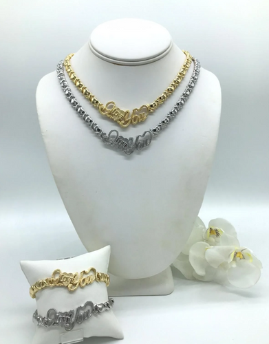 LOVERS SPECIAL 14k Gold Filled and white gold filled Womens I LOVE You 💖 X&O Hugs and Kisses Full Set Chain And Bracelet all 4 pieces included