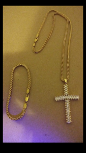 14k Franco Chain Bracelet And Pendent Set