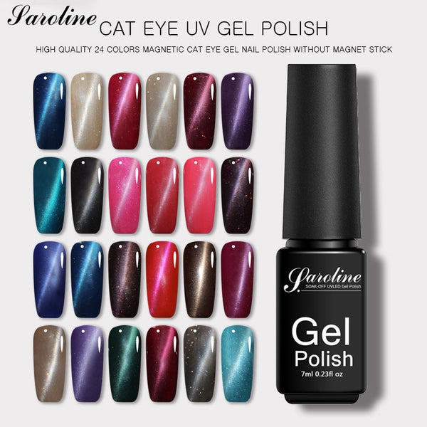 Saroline Semi Permanent Cat Eye Gel Nail Polish Soak Off 24 Colors 3d