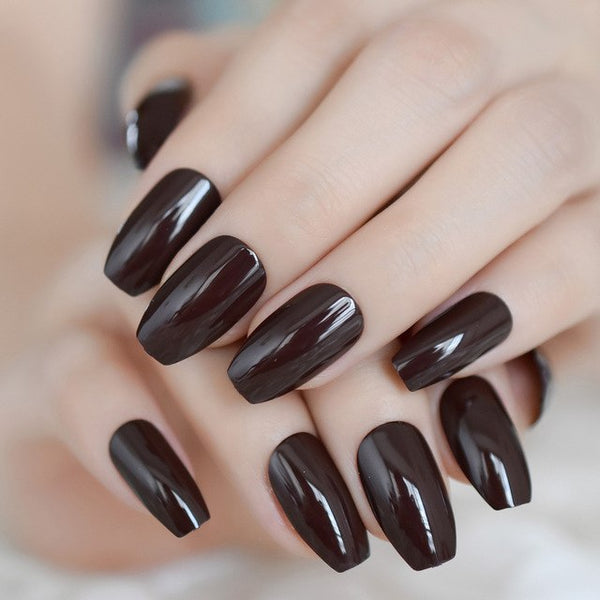 Solid Color Gel Fake Nails Loving Chocolate Ballerina Nails Shiny Brow