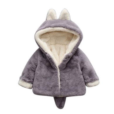 Soft Winter Hooded Jacket With Ears and Tail - Violet & Lace