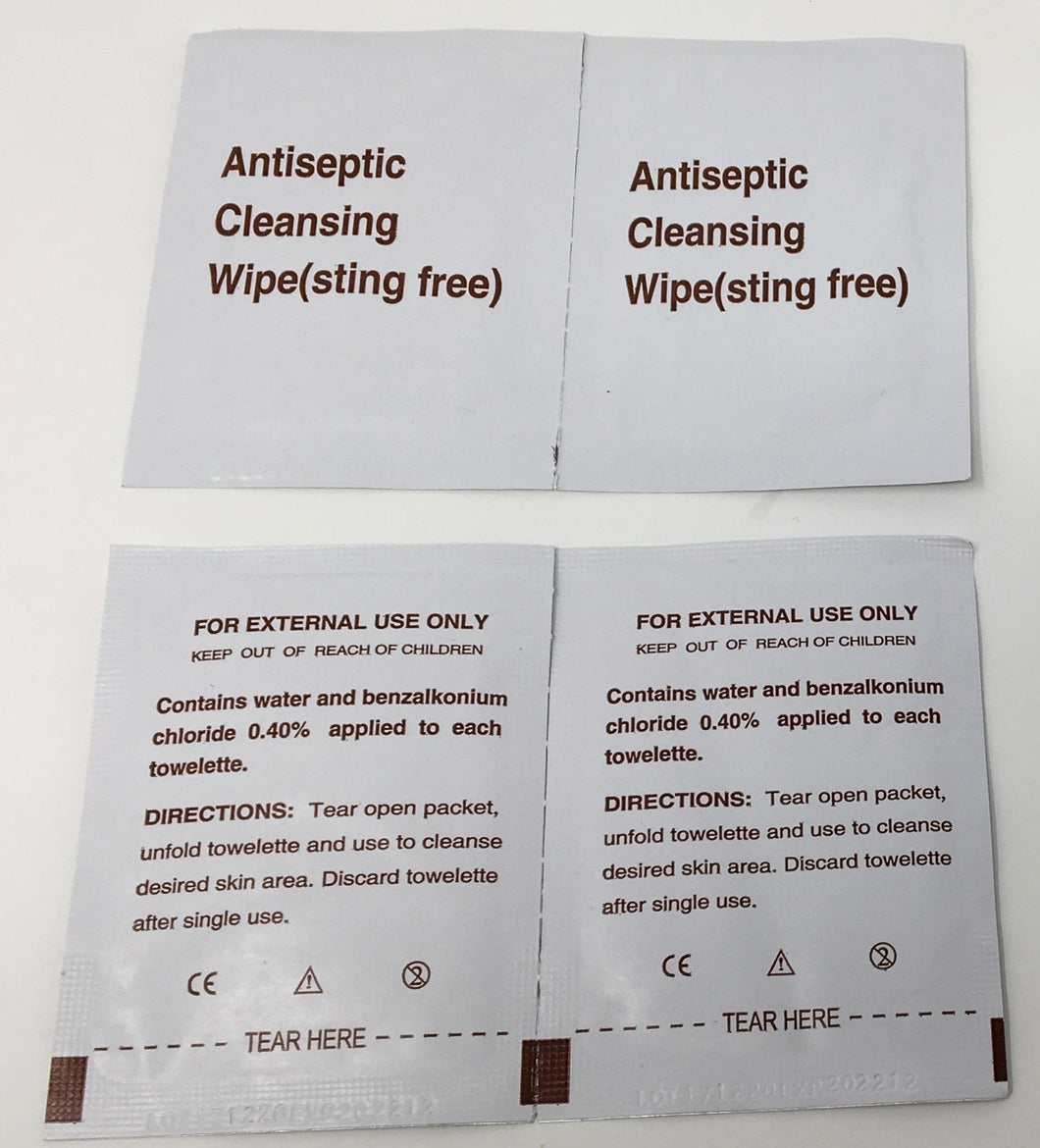 Antiseptic Cleansing Wipes - Don't Let Infection Dictate What You Do! Don't be troubled by infection when it is just so easy to help prevent! Our Antiseptic Cleansing Wipes clean wounds to help prevent infection! Cleans wound to help prevent Infection Sanitary single use packets Sting-Free! What You Get: Pack of 36 single use packets