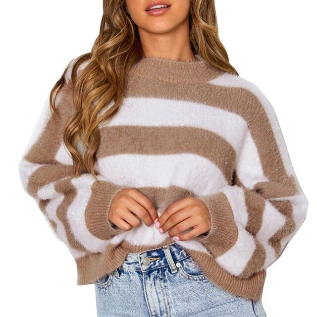 Striped Plush Pullover