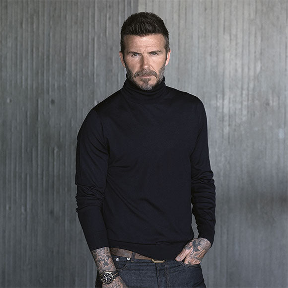 david beckham - tudor ambassador with Black Bay Bronze