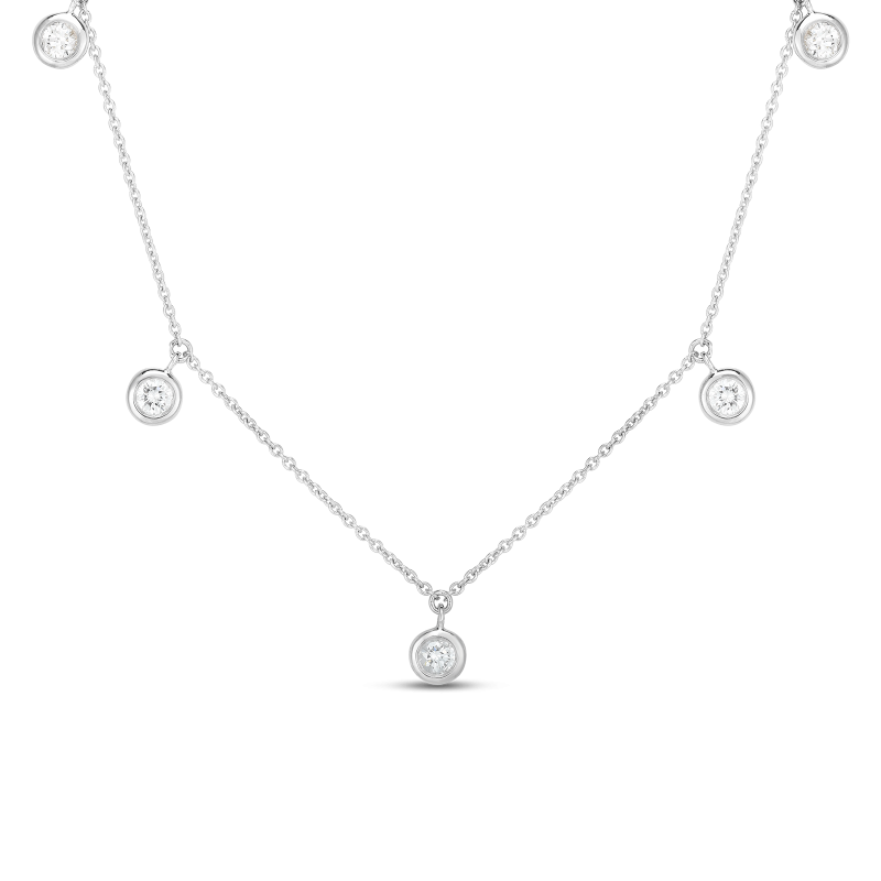 Roberto Coin - 5 Diamond Station Necklace 18k White Gold