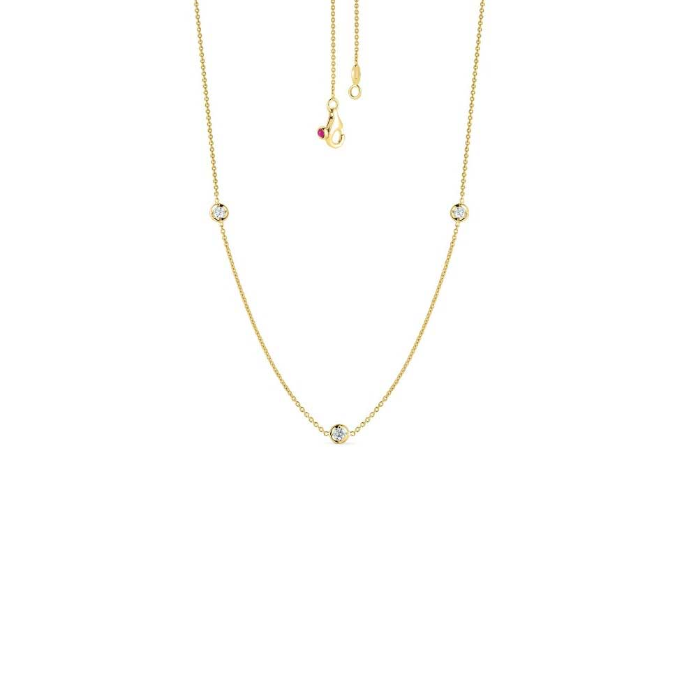 Roberto Coin Diamonds by the Inch 3 Diamond Station necklace on 18k yellow gold