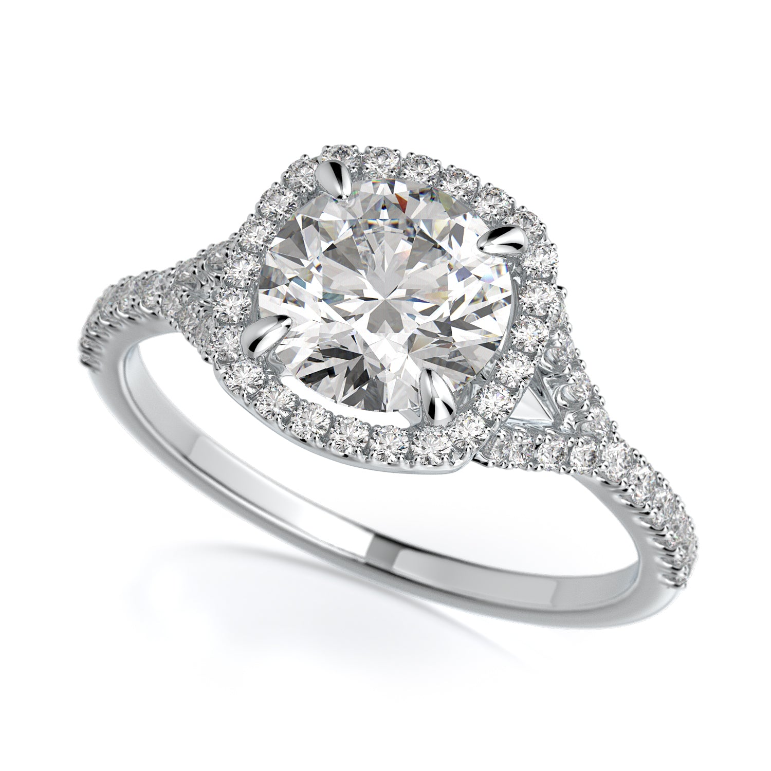 Adrianna Engagement Ring Mounting - Diamond Halo, Split Shank, Round Center Stone