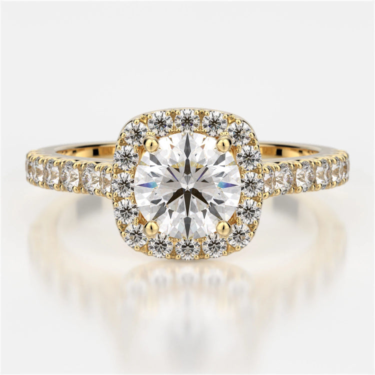 Pippa Diamond Solitaire Halo Engagement Ring - Naledi