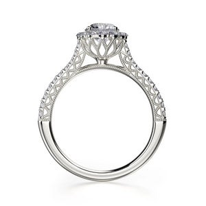 Alcyone Engagement Ring Mounting - Diamond Halo, Round Brilliant, White Gold