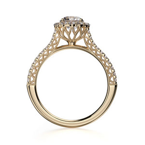 Alcyone Engagement Ring Mounting - Diamond Halo, Round Brilliant, Yellow Gold