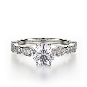 Juniper Engagement Ring Mounting - White Gold - Diamond Solitaire