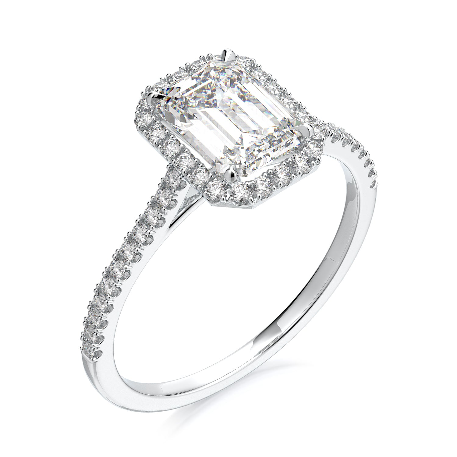 Calliope Engagement Ring - Emerald Cut - Solitaire - Diamond Halo - Platinum