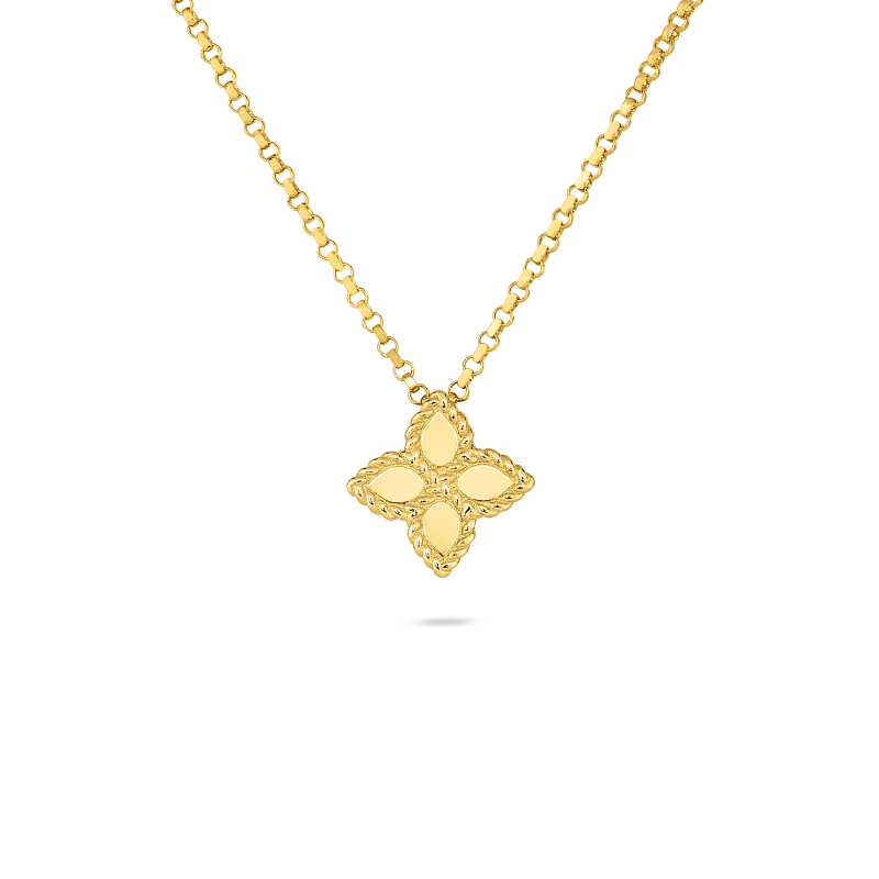 Roberto Coin Small Princess Flower Pendant Necklace in 18k Yellow Gold