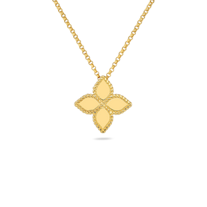 Roberto Coin Medium Princess Flower Pendant Necklace in 18k Yellow Gold