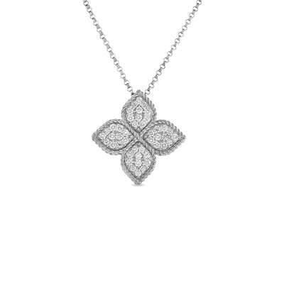 Roberto Coin Large Princess Flower Diamond Pendant Necklace in 18k White Gold