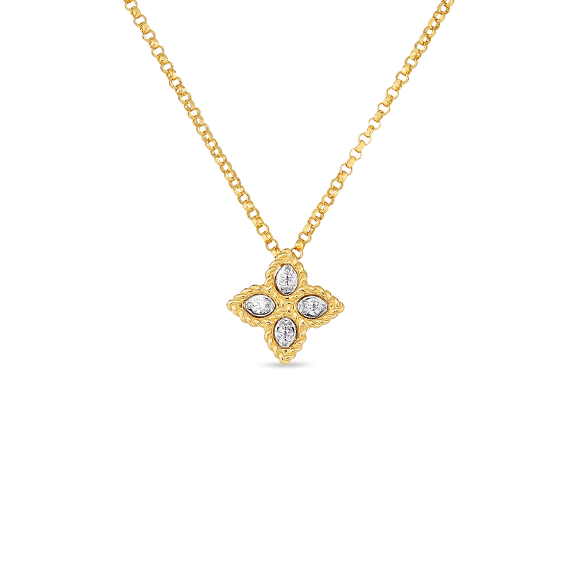 Roberto Coin Small Princess Flower Diamond Pendant Necklace in 18k Yellow Gold