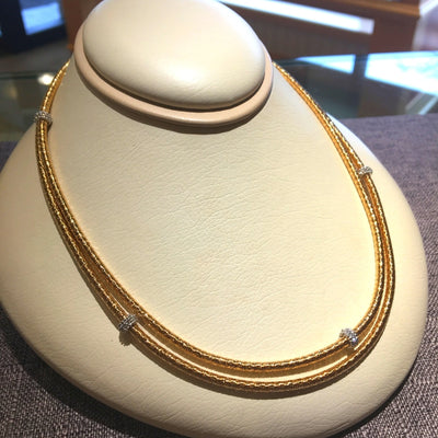 "GOA 36""  Yellow Gold  Necklace with Diamond Stations"