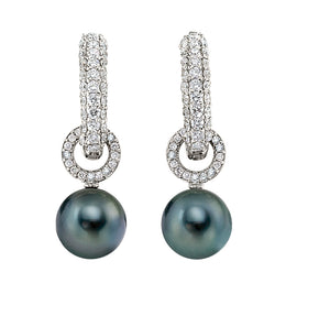 Tahitian Pearl & Diamond Hoop Earrings set in 18k White Gold