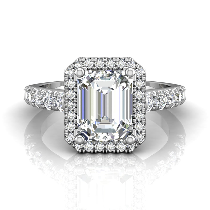 Emerald Cut Diamond Diamond Halo Engagement Ring set in 14k White Gold - Martin Flyer FlyerFit