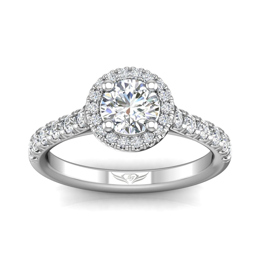 14k White Gold Round Brilliant Cut Diamond Engagement Ring with Diamond Halo and Side Stones by Martin Flyer (FlyerFit)