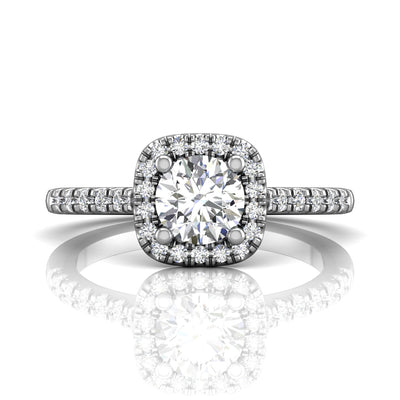 FlyerFit 14k White Gold Round Brilliant Cut Diamond Engagement Ring with Micropave Set Diamond Halo and Side Stones made by Martin Flyer