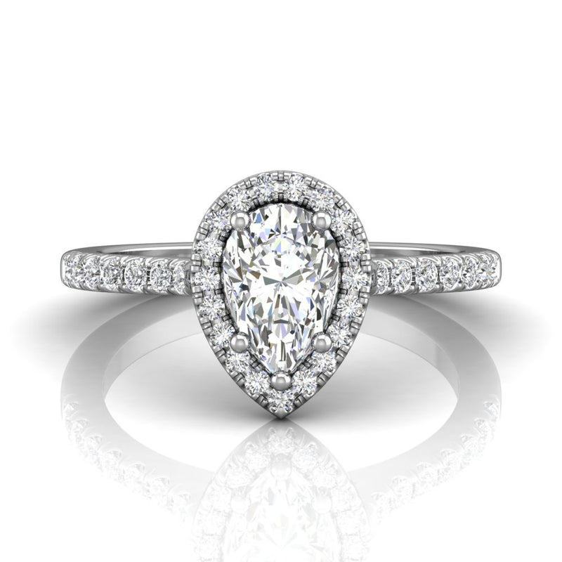 FlyerFit 14k White Gold Pear Cut Diamond Engagement Ring with Micropave Diamond Halo and Side Stones made by Martin Flyer