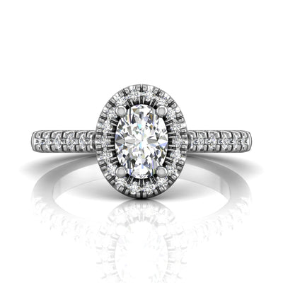 FlyerFit Oval Cut Diamond Halo Engagement Ring set in 14k White Gold by Martin Flyer
