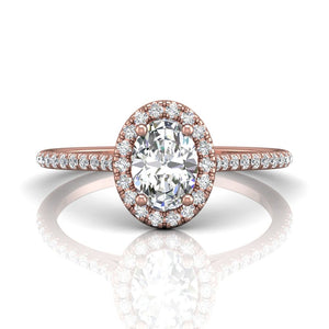 14k Rose Gold Oval Cut Diamond Engagement Ring with Micropave Set Diamond Halo and Side Stones made by Martin Flyer (FLYERFIT)