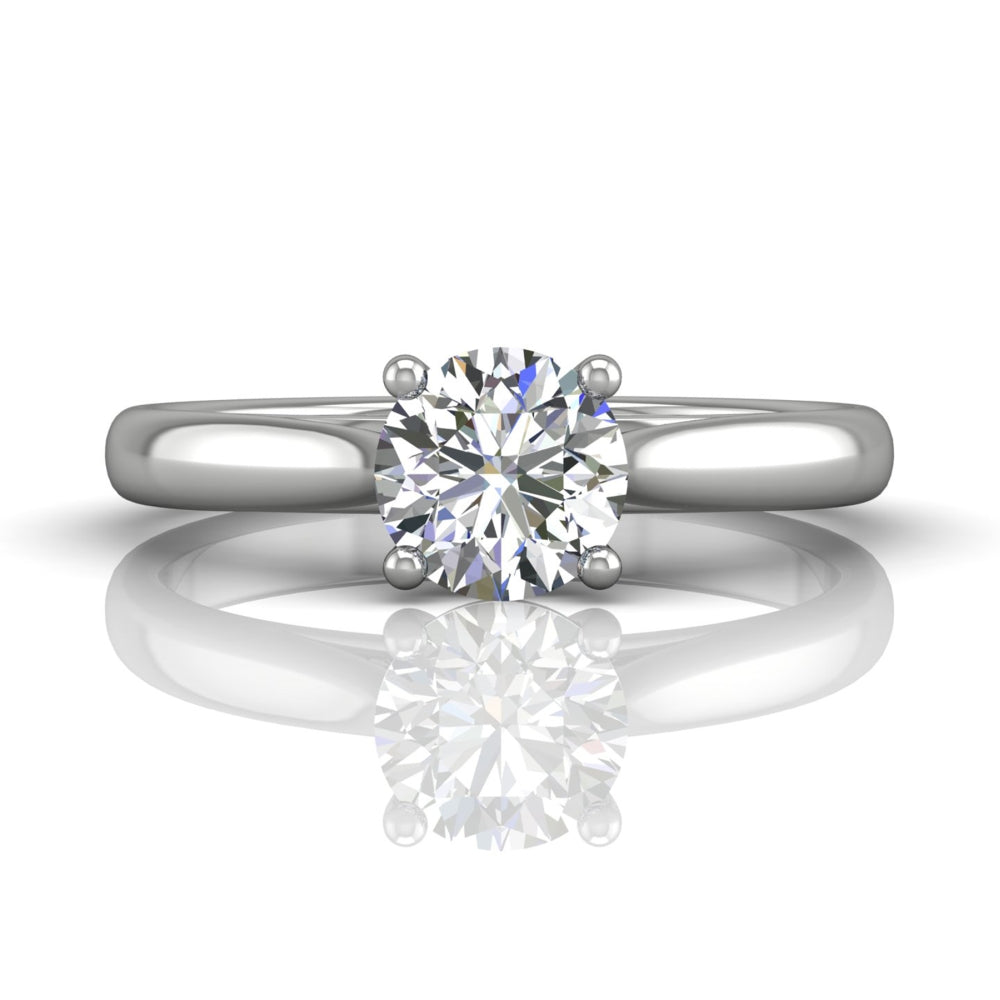 FlyerFit 14k White Gold Diamond Solitaire Engagement Ring by Martin Flyer