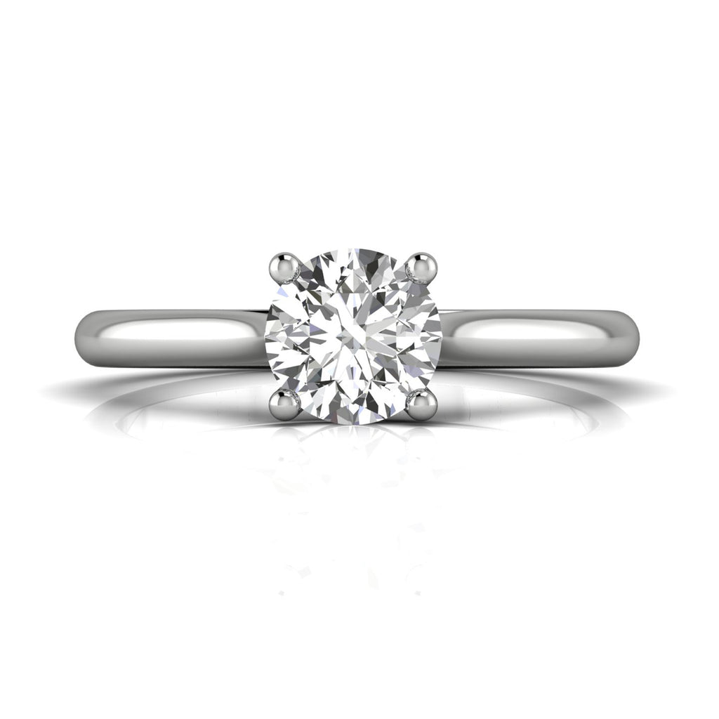FlyerFit Round Brilliant Cut Diamond Solitaire Engagement Ring by Martin Flyer in 14k White Gold