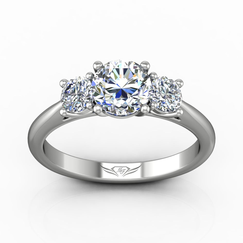 FlyerFit 14k White Gold Three Stone Diamond Engagement Ring by Martin Flyer