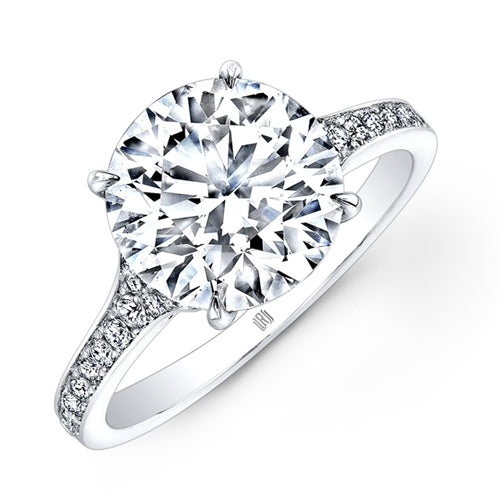 1 Carat Rahaminov Tapered Diamond Engagement Ring Set in 18k White Gold