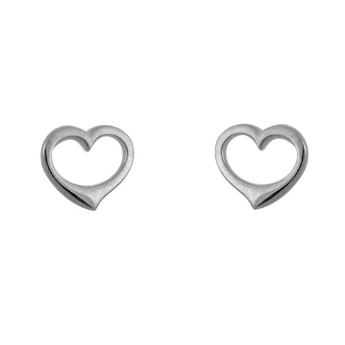 14k White Gold Open Heart Stud Earrings