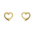 14k Yellow Gold Open Heart Stud Earrings
