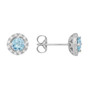 Aquamarine Diamond Halo Stud Earrings set in 14k White Gold