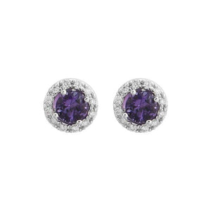 Amethyst Diamond Halo Stud Earrings in 14k White Gold