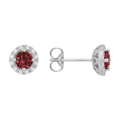 14k White Gold Garnet Diamond Halo Stud Earrings