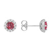 Pink Tourmaline Diamond Halo Stud Earrings set in 14k White Gold